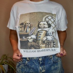 Vintage 90's William Shakespeare Purr cat shirt L